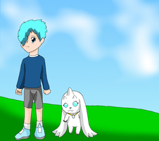 Jake and White Lopmon by HeroHeart001