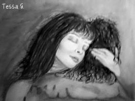 Charcoal drawing of couple by blacknimproud