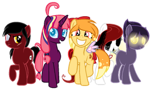 new mane six (again) by Pwnysauce