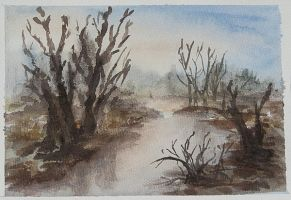 Fall Landscpae Watercolor Study by zummerfish