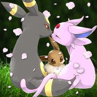 Espeon and Umbreon by LKYPG13