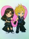 Chibi Cloud x Tifa FF7 AC version by dagga19