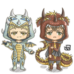Snk Dragon Chibi - Reiner and Bertholt by mewTalina