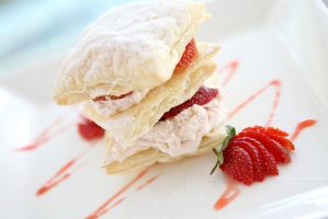 strawberries and custard millefeuille desert by piyato