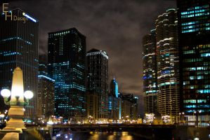 Winter Night Windy City River by BonaFideChimp