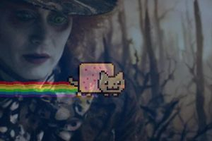Mad Hatter and Nyan Cat by BlueNinjaCupcake