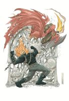 Ghost rider vs Hobgoblin by johnnymorbius