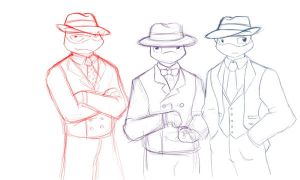 Don, Leo and Raph in suits by evilsherbear