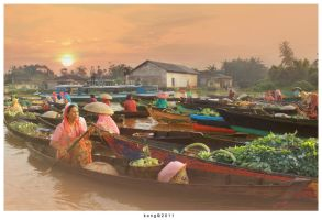 Floating Market and Sunset by kongsthegraph