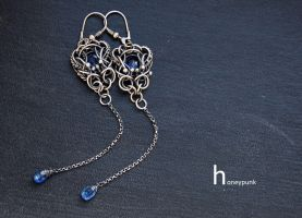 earrings wire wrapped with kyanite by honeypunk