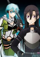 Sinon and Kirito-chan by saeko-doyle