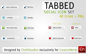Tabbed Social Media Icon Set by cheth