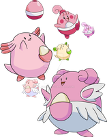 440, 113 and 242 - Happiny Evolutionary Family by Tails19950