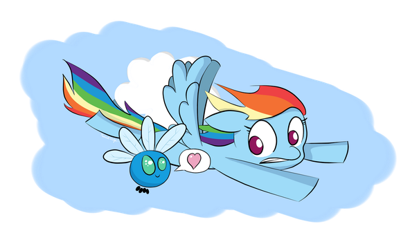 Rainbow Dash and Parasprite by MusicalWolfe