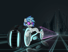 Vinyl Scratch on a Light Cycle by seyrii
