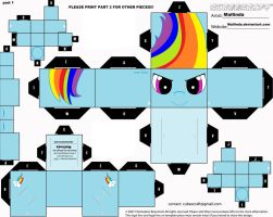 NEW rainbowdash cubee craft part 1 by Mallinda