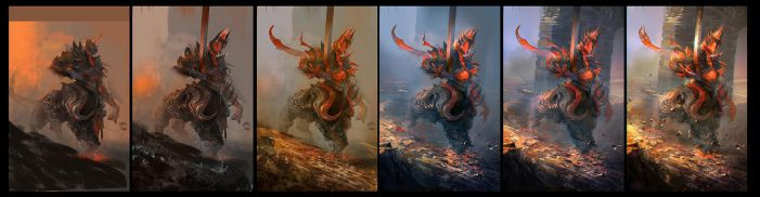 painting step about my fire element creature by watt277