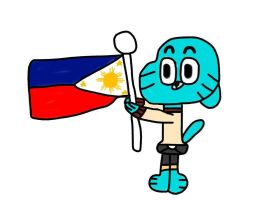 Gumball holding the Philippine Flag V2 by MigsGarcia5127