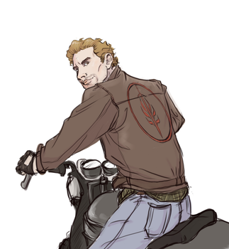 Cullen on a Motorcycle by captainceranna