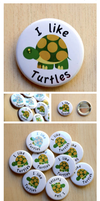 I Like Turtles - Button Set by artshell