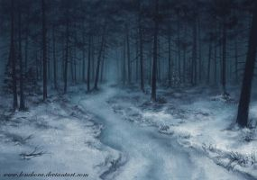Night winter forest by LoneKora