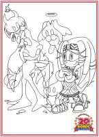Anniversary Series Lineart - Tikal and Chaos by BroDogz