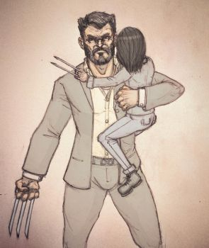 Logan and X23 Sketch by Dee-Pathirana