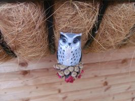 Hand sculpted Christmas tree decoration owl by MyselfMasked