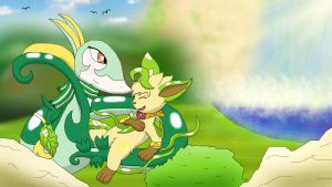 Grass type friends and the Waterfall by Nightforest