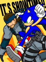Sonic and Snake_Smash Bros. by maruringo