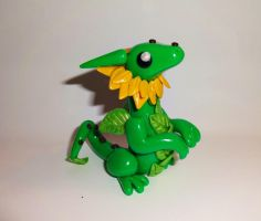 Sunflower Dragon Sculpture by ByToothAndClaw