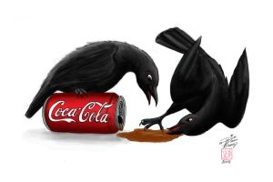 Crows with Coke by Diana-Huang