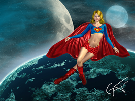 Supergirl in space by GustavoArmando