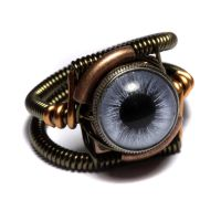 Steampunk Blue eye Ring by CatherinetteRings