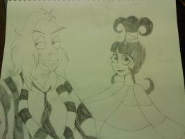 Beetlejuice and Lydia Sketch by TheDocRoach