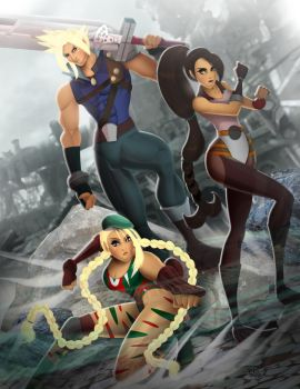 Cloud Strife, Tifa Lockhart, and Cammy White by andre4boys