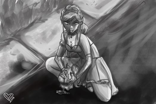 Zombie princess commission greyscale by Ynnep
