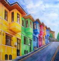 Colorful houses of Balat by rougealizarine