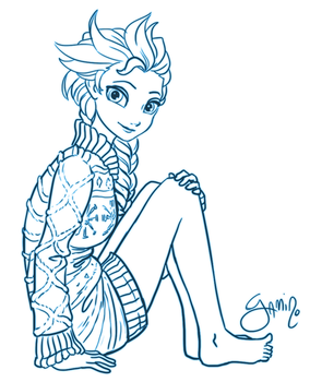 Elsa in a Sweater by Yamino
