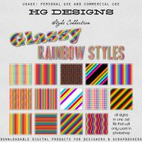 Glassy Rainbow Photoshop Styles by HGGraphicDesigns