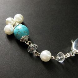 Turquoise Pearl Purse Charm by Gilliauna