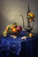 Orient still life with tangerines branch by Daykiney