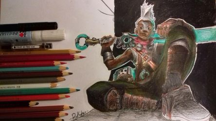 Ekko (colored) - League of legends by R1ckyFri3s