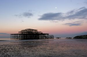 Moon Over West Pier by danhortonszar