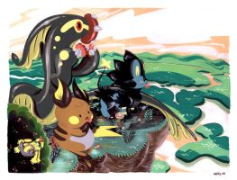 Raichu Luxray and Friends