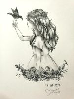 Inktober :: Flower girl by ufo-galz