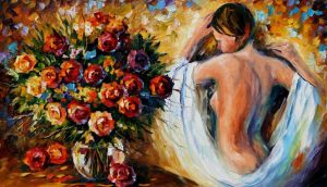 In The Dressing Room by Leonid Afremov by Leonidafremov