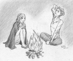 Elicia and Yann around a fire - 1h by Sorka-of-Eawy