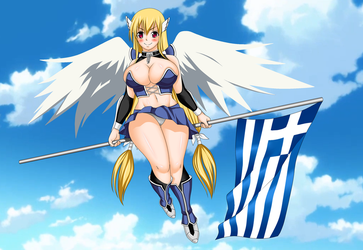 Commission: Astraea with Greek flag by Ecchi-M