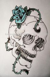 Turquoise Rose by GrotesqueDarling13